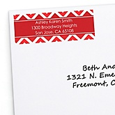 Red Chevron - Personalized Baby Shower Return Address Labels - 30 ct