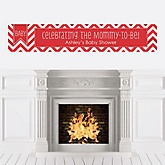 Chevron Red - Personalized Baby Shower Banners
