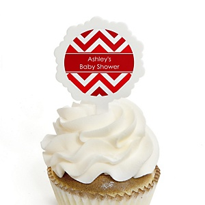 Chevron Red - 12 Cupcake Picks & 24 Personalized Stickers - Baby Shower Cupcake Toppers