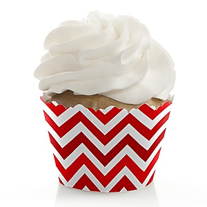 Chevron Red - Baby Shower Cupcake Wrappers & Decorations