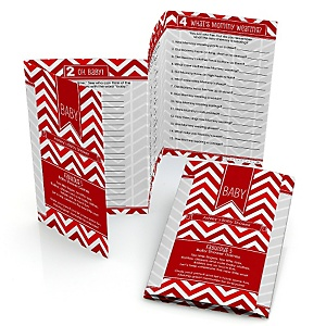 Chevron Red - Personalized Baby Shower Fabulous 5 Games