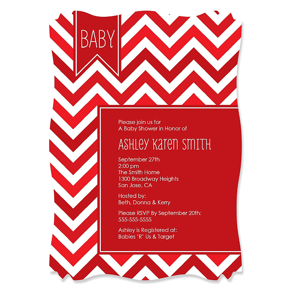 Chevron Red   Personalized Baby Shower Invitations