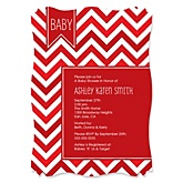 Chevron Red - Personalized Baby Shower Invitations