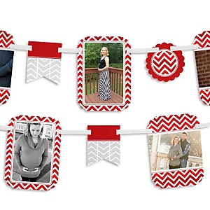 Chevron Red - Baby Shower Photo Garland Banners