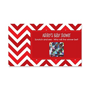Chevron Red - Personalized Baby Shower Game Scratch Off Cards - 22 ct