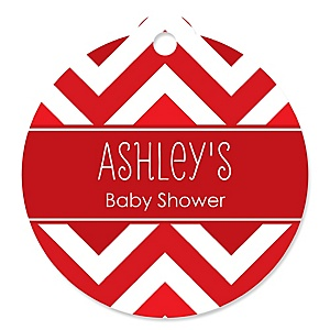 Chevron Red - Round Personalized Baby Shower Tags - 20 ct