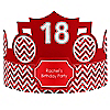 Chevron Red - Personalized Birthday Party Hats - 8 ct