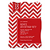 Chevron Red - Personalized Birthday Party Invitations