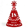 Chevron Red - Personalized Cone Happy Birthday Party Hats for Kids and Adults - Set of 8 (Standard Size)