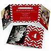 Chevron Red - Personalized Birthday Party Photo Invitations