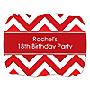 Chevron Red - Personalized Birthday Party Squiggle Stickers - 16 ct
