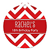 Chevron Red - Round Personalized Birthday Party Tags - 20 ct