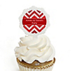 Chevron Red - Personalized Everyday Party Cupcake Pick and Sticker Kit - 12 ct