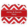 Chevron Red - Personalized Everyday Party Squiggle Stickers - 16 ct