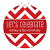 Chevron Red - Round Personalized Everyday Party Tags - 20 ct