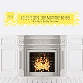 Chevron Yellow - Personalized Baby Shower Banners