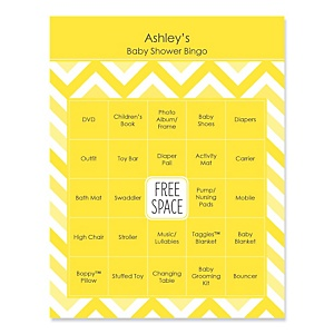 Yellow Chevron - Bingo Personalized Baby Shower Games - 16 Count