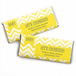 Chevron Yellow - Personalized Baby Shower Candy Bar Wrapper Favors