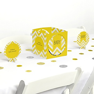 Chevron Yellow - Baby Shower Centerpiece & Table Decoration Kit