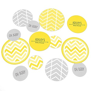 Yellow Chevron - Personalized Baby Shower Table Confetti - 27 ct