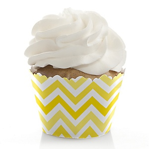 Chevron Yellow - Baby Shower Cupcake Wrappers & Decorations