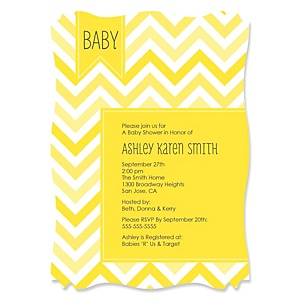 Chevron Yellow - Personalized Baby Shower Invitations