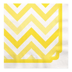 Chevron Yellow - Baby Shower Luncheon Napkins - 16 ct