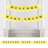 Yellow Chevron - Personalized Baby Shower Bunting Banner