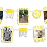 Chevron Yellow - Baby Shower Photo Garland Banners