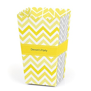 Chevron Yellow - Personalized Party Popcorn Favor Treat Boxes