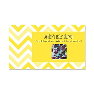 Chevron Yellow - Personalized Baby Shower Game Scratch Off Cards - 22 ct