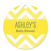 Chevron Yellow - Round Personalized Baby Shower Tags - 20 ct