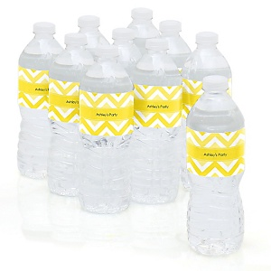 Chevron Yellow - Personalized Party Water Bottle Sticker Labels - Set of 10