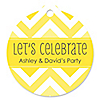 Chevron Yellow - Round Personalized Everyday Party Tags - 20 ct