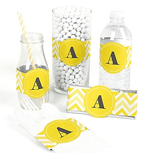Chevron Yellow - DIY Party Wrappers - 15 ct