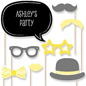 Yellow Chevron - Baby Shower Photo Booth Props Kit - 20 Props