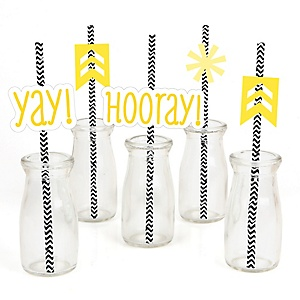 Chevron Yellow - Paper Straw Decor - Baby Shower or Birthday Party Striped Decorative Straws - Set of 24