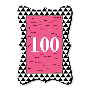 Chic 100th Birthday - Pink, Black and Gold - Unique Alternative Guest Book - 100th Birthday Party Signature Mat Gift