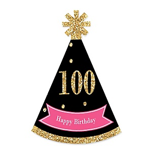 Chic 100th Birthday - Pink, Black and Gold - Personalized Mini Cone Birthday Party Hats - Small Little Party Hats - Set of 10