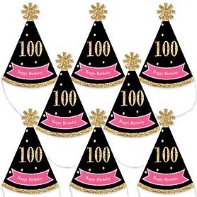 Chic 100th Birthday - Pink, Black and Gold - Mini Cone Birthday Party Hats - Small Little Party Hats - Set of 8