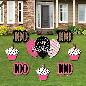 Chic 100th Birthday - Pink, Black and Gold - Yard Sign & Outdoor Lawn Decorations - Birthday Party Yard Signs - Set of 8