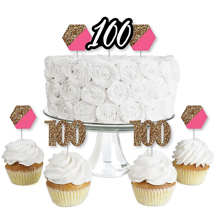 Chic 100th Birthday - Pink, Black and Gold - Dessert Cupcake Toppers - Birthday Party Clear Treat Picks - Set of 24