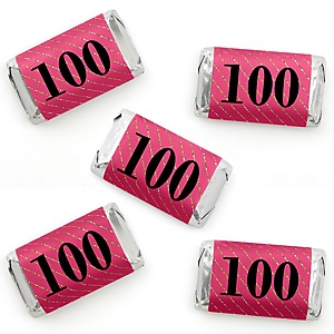 Chic 100th Birthday - Pink, Black and Gold - Mini Candy Bar Wrapper Stickers - Birthday Party Small Favors - 40 Count