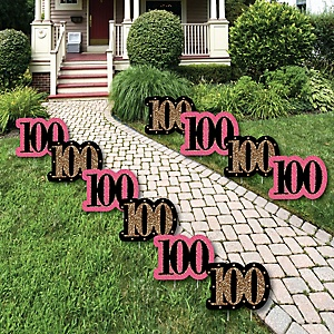 Chic 100th Birthday - Pink, Black and Gold Lawn Decorations - Outdoor Birthday Party Yard Decorations - 10 Piece