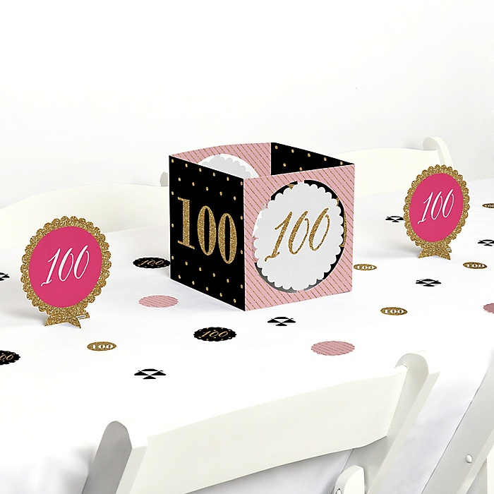 Chic 100th Birthday - Pink, Black and Gold - Birthday Party Centerpiece and Table Decoration Kit