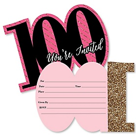 Chic 100th Birthday - Pink, Black and Gold - Shaped Fill-In Invitations - Birthday Party Invitation Cards with Envelopes - Set of 12