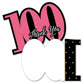 Chic 100th Birthday - Pink, Black and Gold - Shaped Thank You Cards - Birthday Party Thank You Note Cards with Envelopes - Set of 12