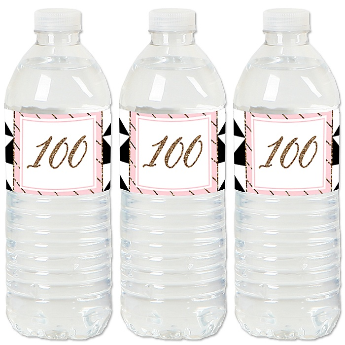 Chic Pink, Black and Gold - 100th Birthday - Birthday Party Water Bottle Sticker Labels - Set of 20