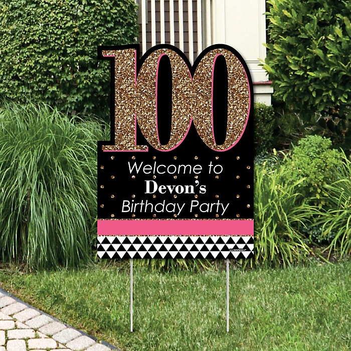Chic 100th Birthday - Pink, Black and Gold - Party Decorations - Birthday Party Personalized Welcome Yard Sign