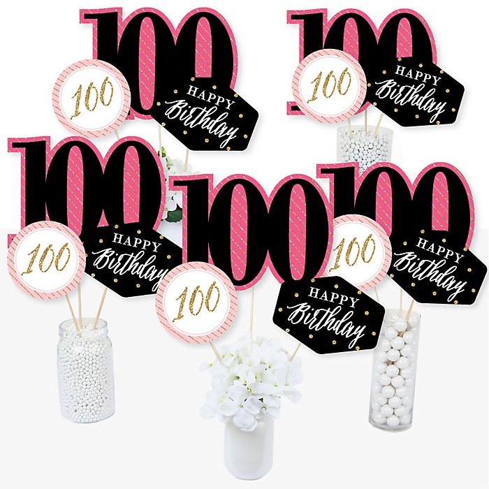 Chic 100th Birthday - Pink, Black and Gold - Birthday Party Centerpiece Sticks - Table Toppers - Set of 15